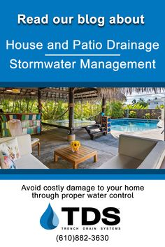 Proper stormwater control can avoid costly damage to your house foundation and outdoor living space. Read our blog for some very helpful tips. Questions? Contact TDS and speak with one of our experts 610-882-3630 #pool #drains #trenchdrain #patio #watercontrol #stormwater #homeimprovement #trenchdrainsystems Trench Drain Systems, Drainage Solutions, House Foundation, Helpful Tips, Outdoor Living, Management, Patio, Space, Blog