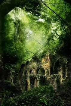 Ruins in the forest. Haunted but beautiful - Tiny Garden Cottage Ruins in the forest. Haunting but beautiful Ruins in the forest. Haunted but beautiful Abandoned Castles, Abandoned Mansions, Abandoned Buildings, Abandoned Places, Haunted Places, Castle Ruins, Medieval Castle, Belle Photo, Beautiful Places