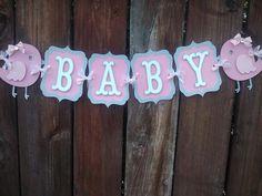 Pájaro bebé ducha Banner rosado y gris por SweetBugABoo en Etsy