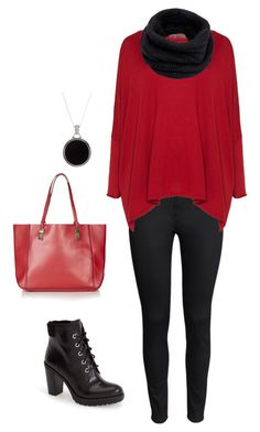 black to red by nespressita on Polyvore featuring moda, Exelle, H&M, MICHAEL Michael Kors, Topshop, Savvy Cie and Helmut Lang