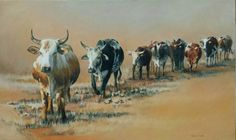"""Leading the Herd"". 1500 x 900 mm. Oil on Canvas. Made as a Commission. SOLD. To order a Commssion, contact me at ewade@absamail.co.za"