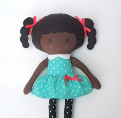 Rag Doll Fabric Doll Black Doll Dottie Teal by rainbowrosedollco, $40.00