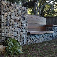 Gabion wall - contemporary landscape by Jeffrey Gordon Smith Landscape Architecture Gabion Retaining Wall, Retaining Wall Design, Fence Design, Garden Design, Gabion Stone, Stone Fence, Brick Fence, Steps Design, Cedar Fence