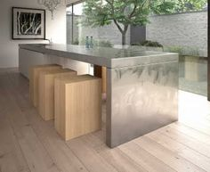 Stainless Steel for the Kitchen Worktop - looks better with WOODEN floor