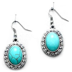 Turquoise and Rhinestone Drop Earrings