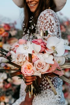 Blush Pink Wedding Inspiration at Elmley Nature Reserve with Floral Bohemian Theme by Emma Epic Love Story Photography 70s Wedding Dress, Pink Wedding Dresses, Pink Bridesmaid Dresses, Blush Pink Weddings, Wedding Bouquets, Wedding Flowers, Wedding Stuff, Pink Wedding Decorations, Pink Wedding Colors