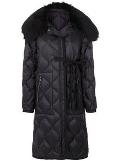 Moncler fur collar quilted coat