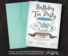 Shabby Vintage Tea Party Birthday Invitation  Printed
