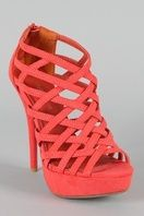33069e3fac5d coral criss cross heels Wedge Heels