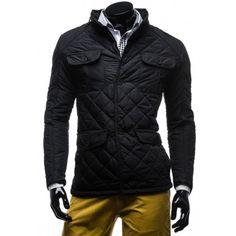 Pánska prešívaná zimná bunda čiernej farby - fashionday.eu
