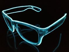 White on Clear Glow Glasses - Battery Powered Glowing EL Rave Party Eyewear