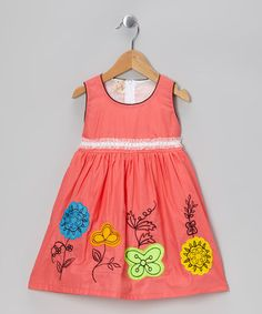 Take a look at this Coral Floral A-Line Dress - Toddler & Girls by the Silly Sissy on #zulily today!