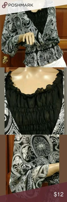 Sunny Leigh. Size small. Black and white. Elastic waistband. One piece. Paisley print. Sunny Leigh Tops Blouses