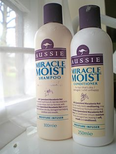 Aussie Miracle moist shampoo and conditioner. Aussie Miracle Moist Shampoo And Conditioner, Aussie Hair Products, Beauty Products, The Body Shop, Dreads, Bath And Shower Products, Silky Smooth Hair, Moisturizing Shampoo, Up Dos