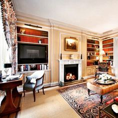 NIce family room with bookcases and a desk for me. Place file drawers under bookcase near deskThe Foo Dog Ate My Homework