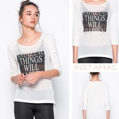 "Amazing Things Will Happen ❤️ Brand new with tags. ""Amazing Things Will Happen"" top by the European brand Vero Moda. Size Small.  The model is also wearing a size Small. Model's measurements: Chest: 35"" Waist: 25"" Hips: 36"" Vero Moda Tops Blouses"