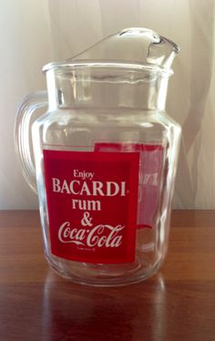 Vintage Bacardi and Coke Pitcher 1970s/1980s Coca