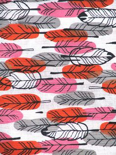 (vintage feather fabric) make this pattern with feather stamp and colored inks Pattern Texture, Surface Pattern Design, Pattern Art, Feather Pattern, Feather Design, Feather Print, Motifs Textiles, Textile Prints, Textile Patterns