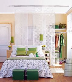 One bedroom apartment? No problem! Divide the room into different spaces with a sheer curtain and get the feeling of walking around in different areas depending on where in the room you are.