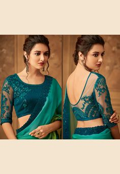 Sea green silk embroidered saree with blouse 518 New Saree Blouse Designs, Choli Designs, Fancy Blouse Designs, Kurta Designs, Fancy Sarees Party Wear, Blouse Tutorial, Sleeves Designs For Dresses, Stylish Blouse Design, Designer Blouse Patterns