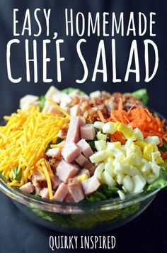 This chef salad recipe is a deliciously easy recipe that is punched with flavor! One of my favorite chef salad recipes, I could literally eat this every day!