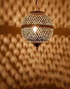 Brass Spherical Moroccan Pendant Light