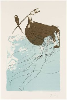 Odysseus clings to the keel 1973 Dame Elisabeth Frink - Tate Gallery (The Odyssey) Elisabeth Frink, Homer Odyssey, Tate Gallery, Boat Painting, Greek Art, Illustrations And Posters, Ancient Art, Drawings, Artwork