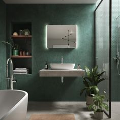 Bathroom design using Tadelakt for a water-proof dramatic finish in green. Eclectic Bathroom, Bathroom Interior Design, Bad Inspiration, Bathroom Inspiration, Bathroom Renos, Master Bathroom, Kitchen Utilities, Tadelakt, Wall Finishes