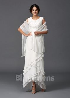 Scoop Chiffon Rucehd Sleeveless A-line Zipper White Shawl Floor Length Mother Of The Bride Dresses