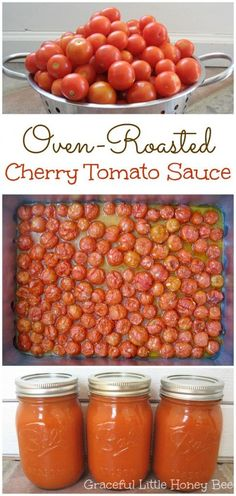) Graceful Little Honey Bee The post Oven-Roasted Cherry Tomato Sauce (Freezer-Friendly!) appeared first on Tasty Recipes. Oven Roasted Cherry Tomatoes, Cherry Tomato Sauce, Cherry Tomato Recipes, Roasted Tomato Sauce, Freezing Cherry Tomatoes, Garden Tomato Recipes, Canning Cherry Tomatoes, Tomato Sauce Recipes, Tomato Tomato