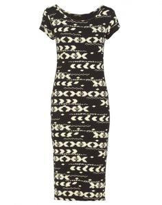 Aztec Print Short Sleeve Black Midi Dress  £14.95 #ChiaraFashion