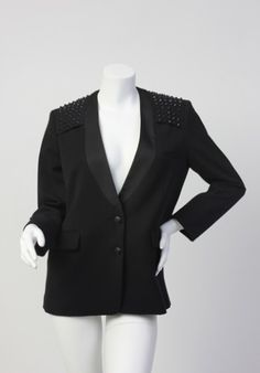 """Details:   Size L   Spike studded shoulder details  2 button blazer   Bust: 39"""" Waist: 37"""" Length: 27"""" Sleeve length: 28""""  Material:   63% Polyester 34% Rayon 3% Spandex   Condition:   Worn a couple of times, excellent condition."""
