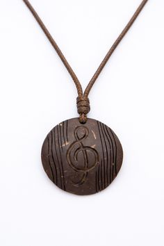 """ON SALE Music pendant """"Hip - Hop"""" from coconut shell  music note unisex pendant ethno art pendant hand carved gift for music lover wood pend - $12.50 USD"""