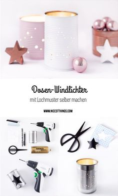 Table decoration Christmas & DIY tins lantern in white, pink, .-Tischdeko Weihnachten & DIY Dosen Windlicht in Weiss, Rosa, Kupfer – Nicest Things Make DIY lanterns with hole patterns yourself - Summer Decoration, Decoration Christmas, Decoration Table, Christmas Diy, Thanksgiving Decorations, Can Lanterns, Table Lanterns, Diy Cans, Navidad Diy