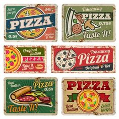 Vintage pizza metal signs with grunge texture vector set. Retro food posters in style - Buy this stock vector and explore similar vectors at Adobe Stock Vintage pizza metal signs with grunge texture vector set. Retro food posters in style Pizza Sign, Pizza Art, Pizza Food, 5 Pizza, Pizza Burger, Vintage Food Posters, Poster Vintage, Logo Pizzeria, American Retro