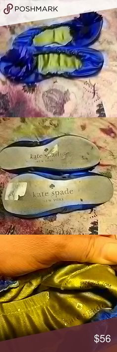 Kate Spade royal blue ballet slipper shoes These are super comfortable. They are size 10 brand is Kate Spade. They are in great shape. Cinched around the edge of shoe. Sole is not very thick so be careful where you step. kate spade Shoes Flats & Loafers