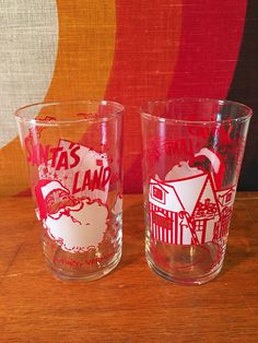 Vintage Santa's Land Glasses, Set of 2, Nostalgic Christmas Glasses, Putnam, Vermont, Advertising Barware, Santa's Land Vermont Juice Glass by CapeCodModern on Etsy
