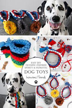 Olympic-Inspired Sporty + Patriotic DIY Dog Tug Toy Ideas and Homemade Dog Toys, Dog Hacks, Diy Dog, Diy Stuffed Animals, Puppys, Pet Stuff, Dalmatian, Pet Toys, Baby Love