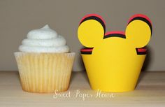 24 Mickey Mouse Cupcake Wrappers  Cardstock Red by SweetPaperHouse