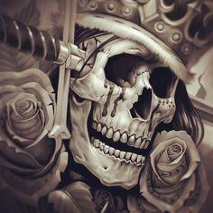 Tattoo idea. Skull, crown, roses and dagger.
