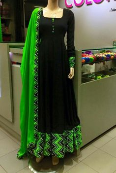 Dark blue and green ,a royal combination coloured admirable anarkali Stylish Dresses, Simple Dresses, Beautiful Dresses, Fashion Dresses, Indian Gowns Dresses, Pakistani Dresses, Indian Outfits, Churidar Designs, Anarkali Dress