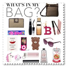 """What's in my Bag??"" by pelicious ❤ liked on Polyvore featuring Tommy Hilfiger, Victoria's Secret, Forever 21, Lancôme, Kate Spade, GHD and Bally"