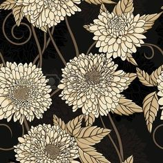 Floral seamless pattern with hand drawn fleurs. photo