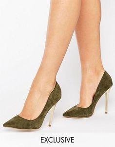 Office - Shop - Chaussures en daim à talons dorés