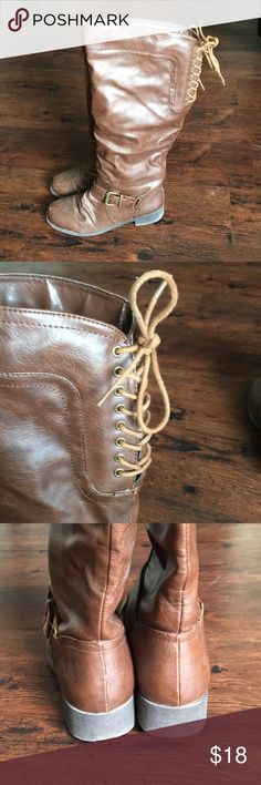 """Brown Knee High Boots w/Lace Up back Super cute brown boots with a faux lace up back look great with jeans and a light jacket. Minor scratches (see photos) because I'm too clumsy for my own good!   Height (from insole to top of boot): 15"""" Shaft circumference: 14"""" Heel: 1"""" Shoes Heeled Boots"""
