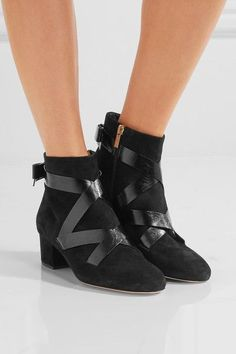Heel measures approximately 45mm/ 2 inches Black suede and glossed textured-leather Zip fastening along side Made in Italy