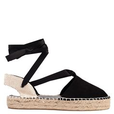 Black lace-up espadrille with suede texture. Features decorative rope sole. Fastens with ribbon.
