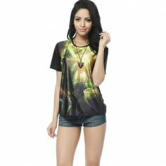 Printing Round Collar Short Sleeve T Shirts For Women