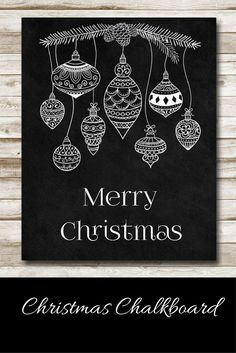 Merry Christmas Chalkboard Style Art, instant download #ad #christmasdecor #chalkboard #printable