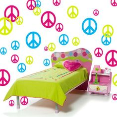 Peace Sign Vinyl Wall Decals Girls Room Decor 51 by Stickyzilla, $29.99 Vinyl Signs, Wall Signs, Girl Room, Girls Bedroom, Girls Duvet Covers, Removable Vinyl Wall Decals, Girl Decor, Fun Crafts, Toddler Bed